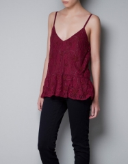 Embellished lace top at Zara