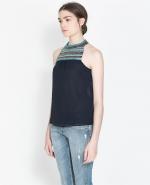 Embellished neckline top at Zara
