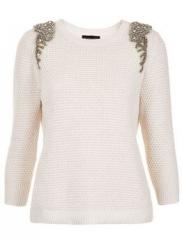 Embellished shoulder sweater by Topshop in white at Nordstrom