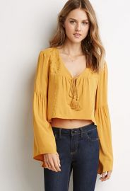 Embroidered Bell-Sleeve Peasant Top  Forever 21 - 2049258857 at Forever 21