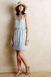Embroidered Chambray Dress at Anthropologie