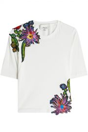 Embroidered Cotton T-Shirt at Stylebop