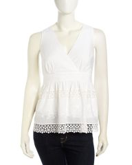 Embroidered Crochet-Inset Voile Top at Last Call