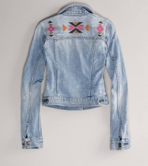 Embroidered Denim Jacket at American Eagle