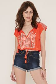 Embroidered Gauze Top   Forever 21 - 2000186054 at Forever 21