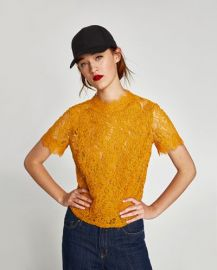 Embroidered Lace Top byu Zara at Zara