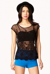 Embroidered Lace Top in black at Forever 21