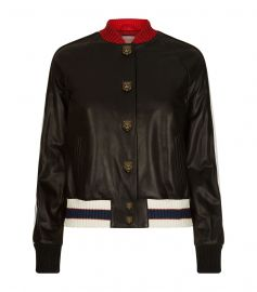 Embroidered Leather Bomber Jacket by Gucci at Harrods