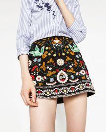 Embroidered Mini Skirt at Zara