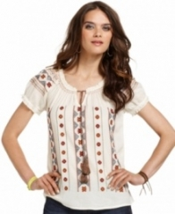 Embroidered Peasant Top by Lucky Brand at Macys