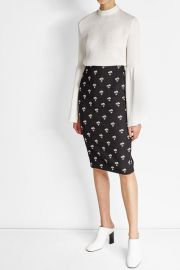 Embroidered Pencil Skirt at Stylebop
