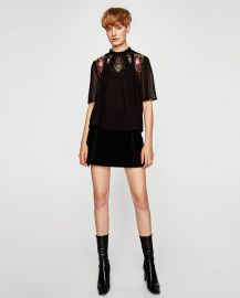 Embroidered Plumetis Blouse at Zara