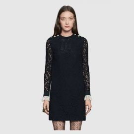 Embroidered cluny lace dress at Gucci