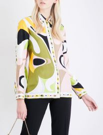 Emilio Pucci Abstract Graphic-Print Silk-Twill Shirt at Selfridges