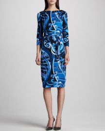 Emilio Pucci Marilyn Printed Silk Dress Blue at Neiman Marcus