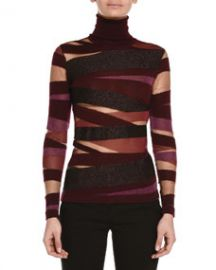 Emilio Pucci Sheer-Inset Mixed Bandage Knit Top at Neiman Marcus