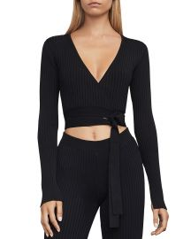 Emily Knit Wrap Crop Top Bcbgmaxazria at Bloomingdales