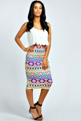 Emily neon aztec skirt at Boohoo