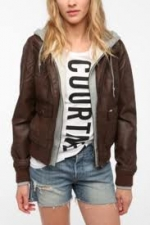 Emily's brown leather jacket at Urban Outfitters at Urban Outfitters