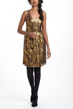 Emily's gold leaf dress at Anthropologie