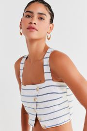 Emory Striped Button-Down Cropped Top at Urban Outfitters