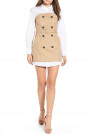 English Factory Trench Style Cotton Poplin  amp  Twill Dress at Nordstrom