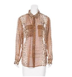 Equipment silk leopard print top   at The Real Real