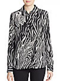 Equipment - Brett Silk Zebra-Print Blouse at Saks Off 5th
