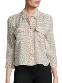 Equipment - Cropped Signature Leopard-Print Silk Blouse at Saks Fifth Avenue