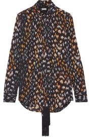 Equipment   Essential pussy-bow leopard-print silk-georgette blouse at Net A Porter