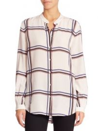 Equipment - Henri Large Plaid Printed Silk Blouse at Saks Off 5th