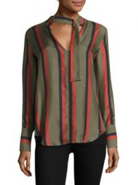 Equipment - Janelle Striped Buckle Tie Silk Blouse at Saks Fifth Avenue
