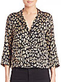 Equipment - Kate Moss for Equipment Lake Leopard-Print Silk Pajama Top at Saks Fifth Avenue
