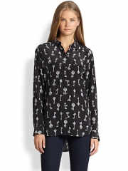 Equipment - Signature Silk Key-Print Shirt at Saks Fifth Avenue