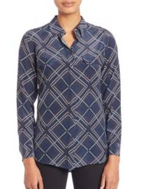 Equipment - Silk Slim Signature Argyle Shirt at Saks Off 5th