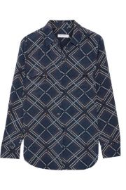Equipment   Slim Signature printed washed-silk shirt at Net A Porter