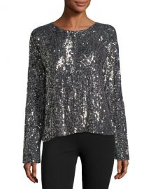 Equipment Abilene Crewneck Long-Sleeve Chrome Sequin Top at Neiman Marcus