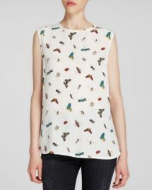 Equipment Blouse - Kyle Sleeveless Complex Insect Print Silk at Bloomingdales