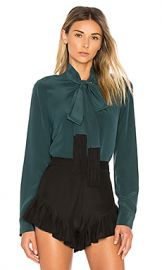 Equipment Essential Tie Neck Button Up in Eden Green from Revolve com at Revolve