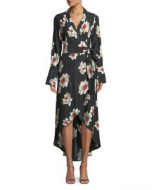 Equipment Gowen Floral-Print Silk Wrap Dress at Neiman Marcus