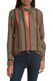 Equipment Janelle Belt Neck Silk Blouse at Nordstrom
