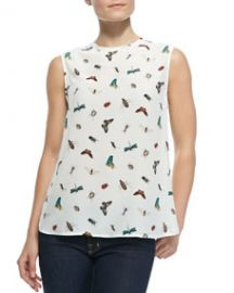 Equipment Kyle Sleeveless Nature-Print Blouse at Neiman Marcus
