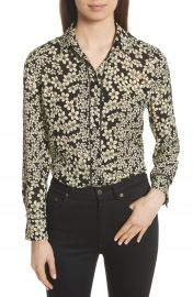 Equipment Leema Raw Edge Floral Silk Shirt at Nordstrom