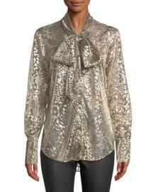 Equipment Luis Tie-Neck Long-Sleeve Metallic Leopard Burnout Blouse at Neiman Marcus