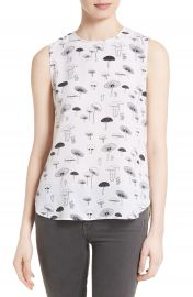 Equipment Lyle Mushroom Print Silk Top at Nordstrom