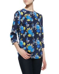 Equipment Lynn Floral-Print Blouse Peacoat-Blue at Neiman Marcus
