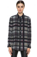 Equipment Reese Blouse in Black Plaid at Forward by Elyse Walker