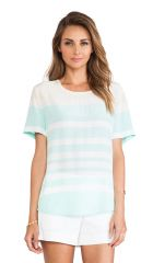 Equipment Riley Tee in Bleached Sand and Ice Green  REVOLVE at Revolve