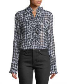 Equipment Samine Ruffled-Bib Long-Sleeve Houndstooth Silk Blouse at Neiman Marcus