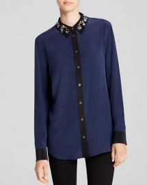 Equipment Shirt - Reese Clean Embellished Hidden Dragon Collar Silk at Bloomingdales